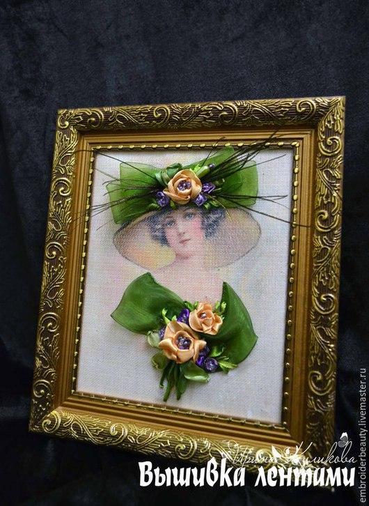 """Люди, ручной работы. Ярмарка Мастеров - ручная работа. Купить Картина вышивка лентами  """"  Леди"""". Handmade. Зеленый"""