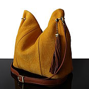 "Сумка-мешок ручной работы. Ярмарка Мастеров - ручная работа ""Granville Safran"" Желтая замшевая сумка хобо. Handmade."