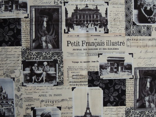 Шитье ручной работы. Ярмарка Мастеров - ручная работа. Купить Ткань Французская газета. Handmade. Сепия, ткани для рукоделия