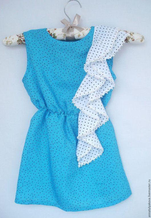 Платья ручной работы. Ярмарка Мастеров - ручная работа. Купить Платье - Кира. Handmade. Голубой, хлопок 100%