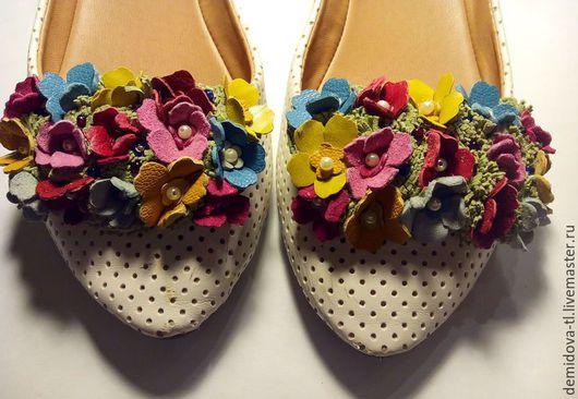 """Украшения для ножек ручной работы. Ярмарка Мастеров - ручная работа. Купить клипсы для обуви  """"Цветик"""". Handmade. Комбинированный, клипсы для туфель"""