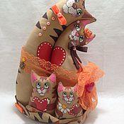 Мягкие игрушки ручной работы. Ярмарка Мастеров - ручная работа Неразлучники котики кофейные семья. Handmade.