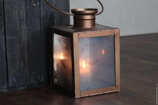 Подсвечники ручной работы. Ярмарка Мастеров - ручная работа. Купить Фонарь в стиле Винтаж для свечи. Handmade. Фонарь, стекло, металл