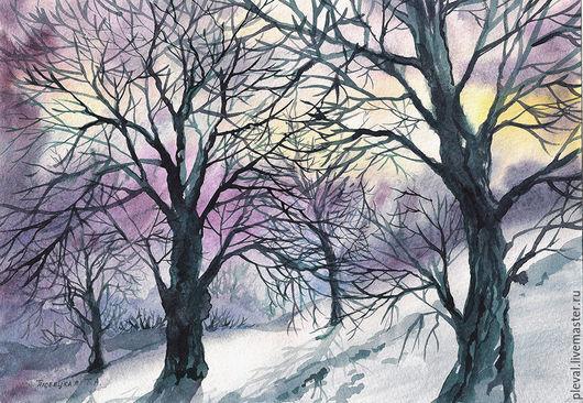 Пейзаж ручной работы. Ярмарка Мастеров - ручная работа. Купить Картина акварелью Вечер холодной зимы. Handmade. Фиолетовый, закат