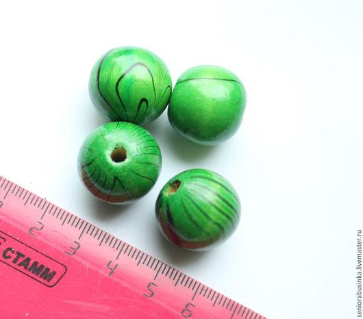"""Для украшений ручной работы. Ярмарка Мастеров - ручная работа. Купить Уценка бусины 20мм деревянные """"Зеленые"""". Handmade. Зеленый"""