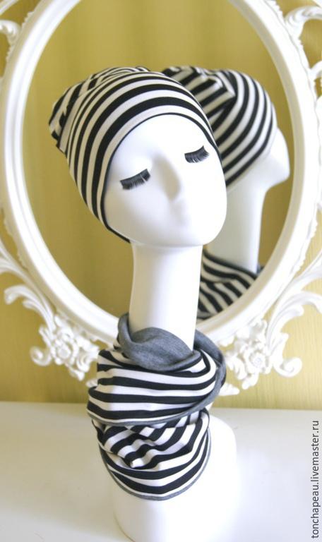 Комплекты аксессуаров ручной работы. Ярмарка Мастеров - ручная работа. Купить Комплект из шапки и шарфа. Handmade. Чёрно-белый