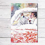 """Открытки ручной работы. Ярмарка Мастеров - ручная работа Открытка для посткроссинга """"Снежный поцелуй"""". Handmade."""