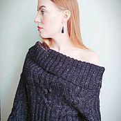 Свитеры ручной работы. Ярмарка Мастеров - ручная работа Вязаный женский черный свитер ручной работы  с открытыми плечами. Handmade.
