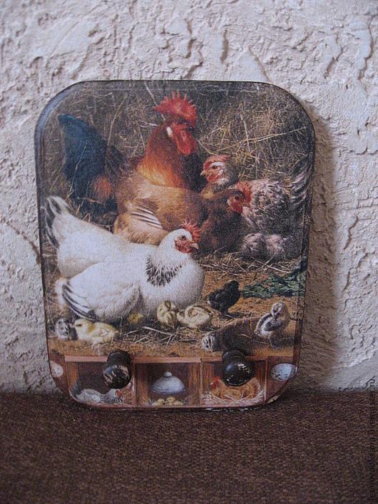 """Кухня ручной работы. Ярмарка Мастеров - ручная работа. Купить Панно-вешалка для кухни  """"Вся петушиная семья"""". Handmade. Панно"""