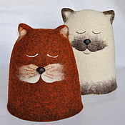 Для дома и интерьера ручной работы. Ярмарка Мастеров - ручная работа СПАкойные коты. Колпак плотный шерстяной.. Handmade.