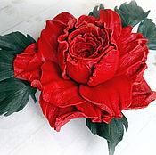 Украшения handmade. Livemaster - original item Brooch rose red leather. Handmade.