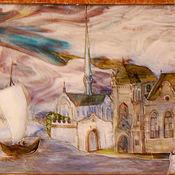 """Для дома и интерьера ручной работы. Ярмарка Мастеров - ручная работа Пейзаж """"Старая Англия""""-витраж в нишу.. Handmade."""