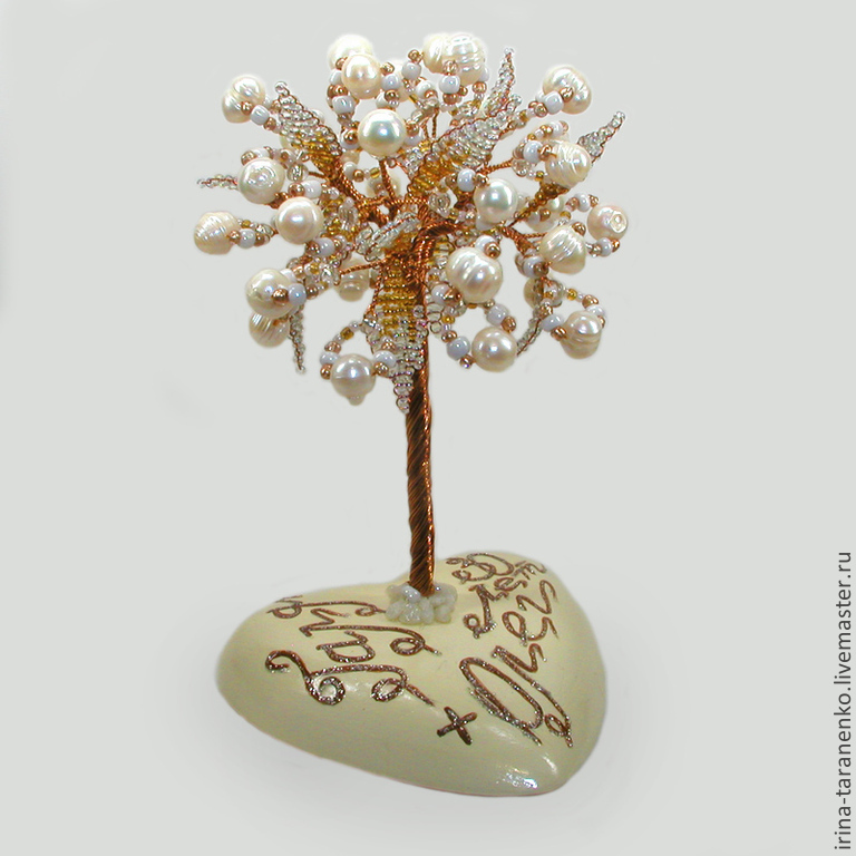 Tree of pearls on mother of pearl heart with a personalized inscription