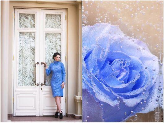 """Платья ручной работы. Ярмарка Мастеров - ручная работа. Купить Платье """"Городская нимфа"""". Handmade. Голубой, высококачественная шерсть"""