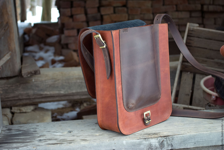 b1a8602cbf4c Мужская сумка Кожа А4, через плечо, под планшет, рыжая – купить в ...