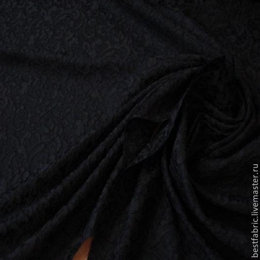 жаккардовая плательная ткань имитация кружева на пов-ти, стиль DG, италия ацетат+ п/э + эл шир. 150 см цвет черный средней толщины, пластичная, шелковистая пов-ть фактурная, с матовым блеском , не мнется подойдет и для легких пальто