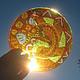 Абстракция ручной работы. Ярмарка Мастеров - ручная работа. Купить Осень-лиса Ловец солнца Витражная роспись по стеклу. Handmade.