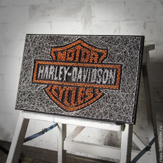 """Люди, ручной работы. Ярмарка Мастеров - ручная работа. Купить """"Harley Davidson"""" в стиле стринг арт. Handmade. Разноцветный, картина"""