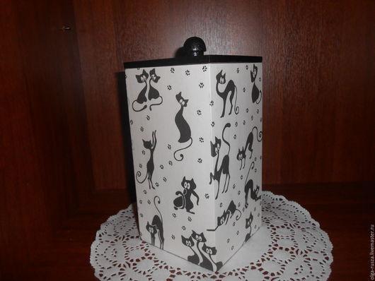 """Кухня ручной работы. Ярмарка Мастеров - ручная работа. Купить Короб """"Чучело Мяучело"""". Handmade. Чёрно-белый, коробка для мелочей"""