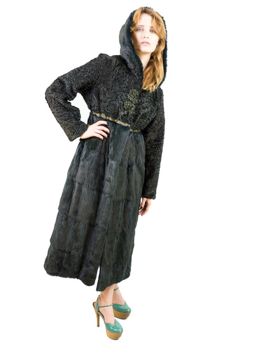 """Верхняя одежда ручной работы. Ярмарка Мастеров - ручная работа. Купить Шуба""""Меховое пальто каркуль-ласка изумруд"""". Handmade. Коричневый"""
