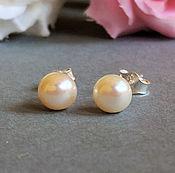 Украшения handmade. Livemaster - original item White freshwater pearl earrings sterling silver stud jewelry wedding. Handmade.