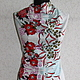 Linen-stretch 'Echigo' with red flowers. Fabric. Ya-shveya. Online shopping on My Livemaster.  Фото №2