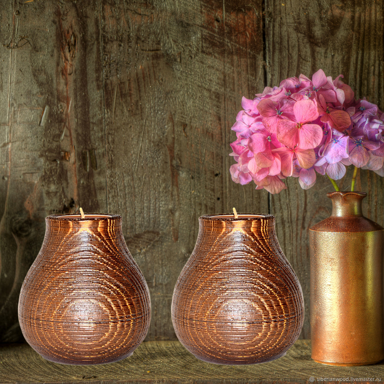 Wooden textured candlesticks made of pine wood-2 pcs. WC20, Candlesticks, Novokuznetsk,  Фото №1
