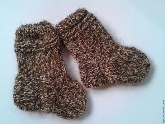Для новорожденных, ручной работы. Ярмарка Мастеров - ручная работа. Купить Детские носочки. Handmade. Коричневый, связаны на спицах