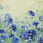 Pictures handmade. Livemaster - original item Cornflowers, oil painting. Handmade.