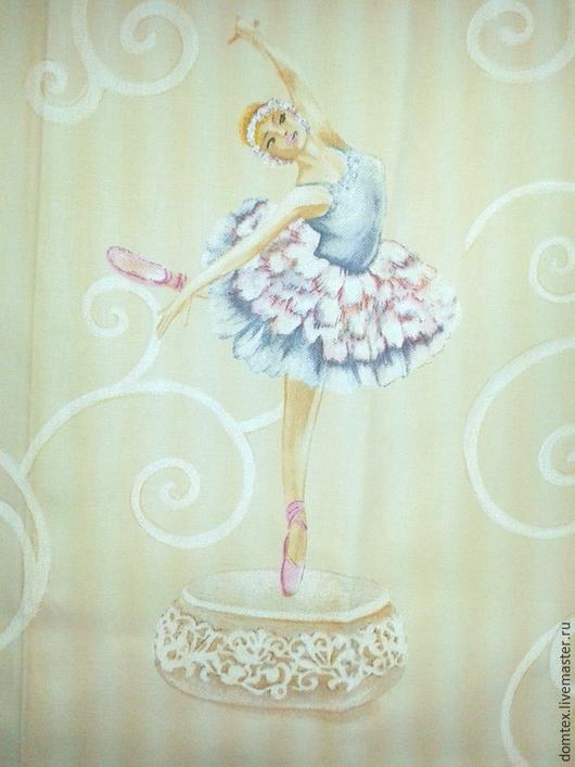 Шитье ручной работы. Ярмарка Мастеров - ручная работа. Купить Ткань детская Балерины. Handmade. Бежевый, шторы в детскую