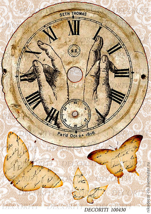 Декупаж и роспись ручной работы. Ярмарка Мастеров - ручная работа. Купить Старинные часы (D100430) - рисовая бумага, А4. Handmade.