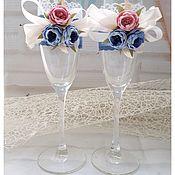 Свадебный салон handmade. Livemaster - original item glasses wedding. Glasses are decorated for the wedding. wedding paraphernalia.. Handmade.