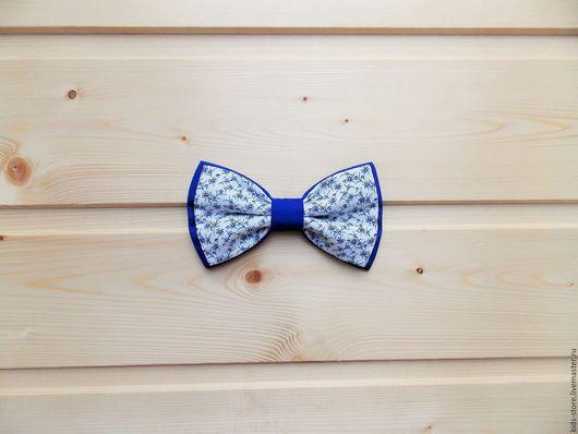 """Детские аксессуары ручной работы. Ярмарка Мастеров - ручная работа. Купить Детская галстук бабочка """"Веточки"""" / синяя бабочка галстук. Handmade."""