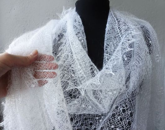 Паутинка платок пуховый оренбургский тонкий вязаный ажурный ручная работа