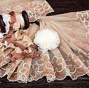 Материалы для творчества ручной работы. Ярмарка Мастеров - ручная работа Кружевной набор 395 вышивка на сетке шебби ленты набор с кружевом. Handmade.