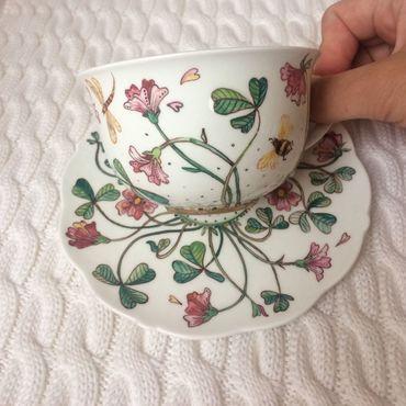 Посуда ручной работы. Ярмарка Мастеров - ручная работа Чайная пара Лютики. Handmade.