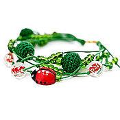 Украшения ручной работы. Ярмарка Мастеров - ручная работа Браслет Снег в июле Зелёный красный. Handmade.