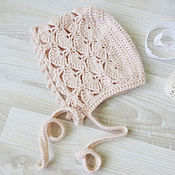 Работы для детей, handmade. Livemaster - original item Openwork cap for newborn photo shoot knitted, cream. Handmade.