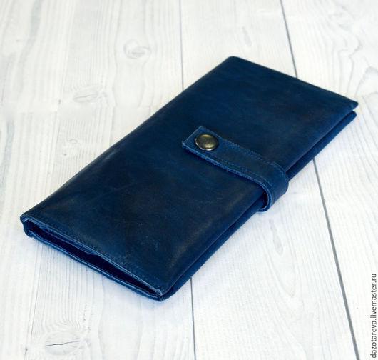 """Кошельки и визитницы ручной работы. Ярмарка Мастеров - ручная работа. Купить Кожаный кошелек """"Blue"""". Handmade. Тёмно-синий"""