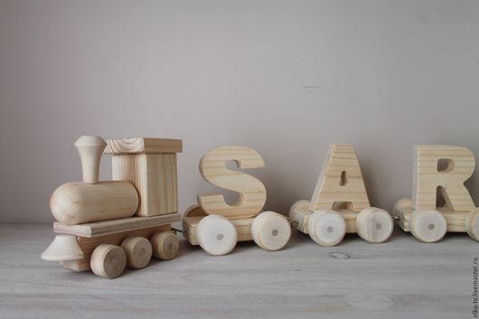 Техника ручной работы. Ярмарка Мастеров - ручная работа. Купить Деревянный поезд с именем. Handmade. Коричневый, имя на заказ