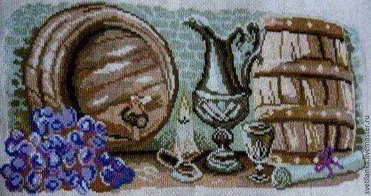 """Натюрморт ручной работы. Ярмарка Мастеров - ручная работа. Купить Вышитая картина """"Погребок"""". Handmade. Комбинированный, Вышивка крестом"""