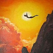 """Картины и панно ручной работы. Ярмарка Мастеров - ручная работа Картина маслом """"Сила солнца и гор"""". Handmade."""