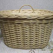 Для дома и интерьера ручной работы. Ярмарка Мастеров - ручная работа Плетеная овальная корзина из лозы с крышкой. Handmade.
