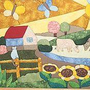 """Картины и панно ручной работы. Ярмарка Мастеров - ручная работа Картина в лоскутной технике  """"Летний день в деревне"""". Handmade."""