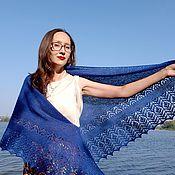 Аксессуары handmade. Livemaster - original item Knitted winter shawl made of wool and alpaca, blue. Handmade.