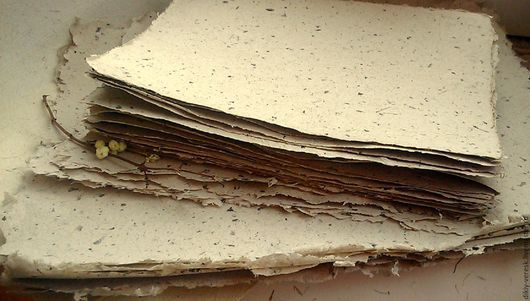 """Письменные приборы ручной работы. Ярмарка Мастеров - ручная работа. Купить """"Чайный лист"""". Бумага ручного отлива. Handmade. Коричневый"""