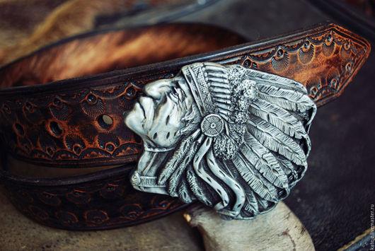 Пояса, ремни ручной работы. Ярмарка Мастеров - ручная работа. Купить Ремень тисненый премиум-качества Indian Chief мужской кожаный ремень. Handmade.