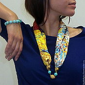 Украшения handmade. Livemaster - original item The mystery of VAN GOGH`s L turquoise Majorica pearl, lampwork. ULTRAMARINE. Handmade.