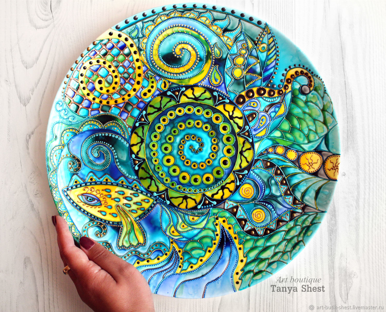 "Decorative Dish The Dish Is Painted ""sea Noise"" Decorative Large Plate D32Cm"