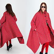 Одежда handmade. Livemaster - original item Long, red, checkered coat-CT0033CA. Handmade.